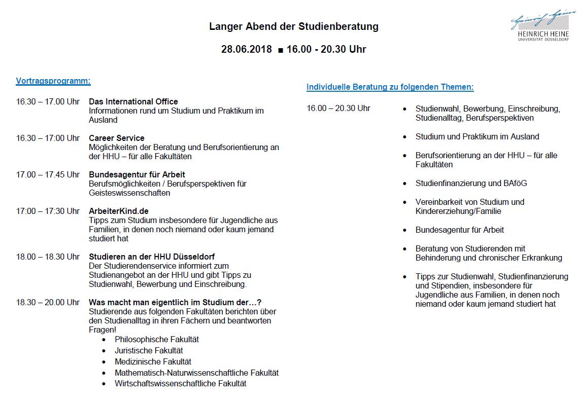 veranstaltungsplan - Uni Dsseldorf Bewerbung