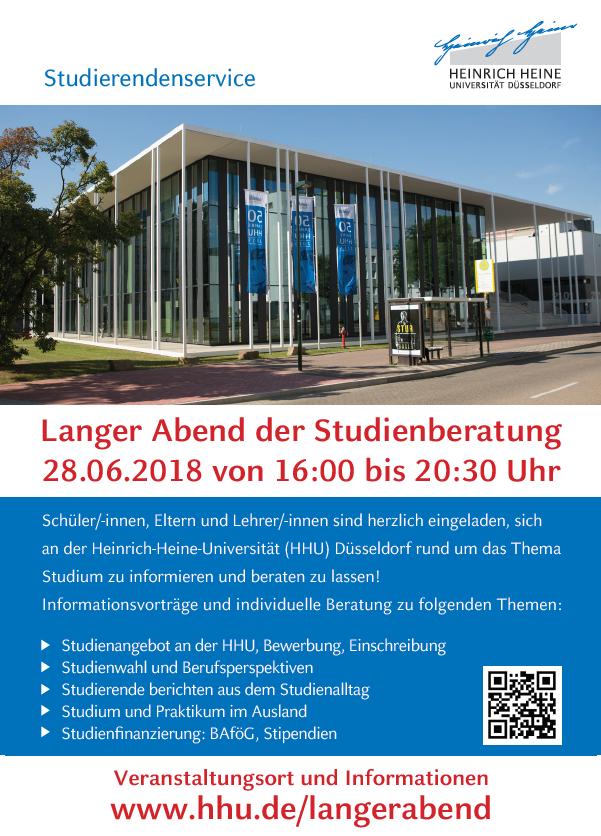 am 28062018 mchte die heinrich heine universitt allen studieninteressierten eltern und lehrerinnen und lehrern die mglichkeit geben sich von 1600 - Dusseldorf Uni Bewerbung